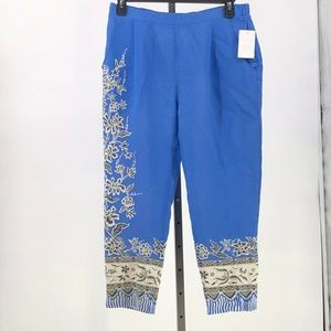Anthro Leifnotes Blooming Perrenial Pants 12 NWT